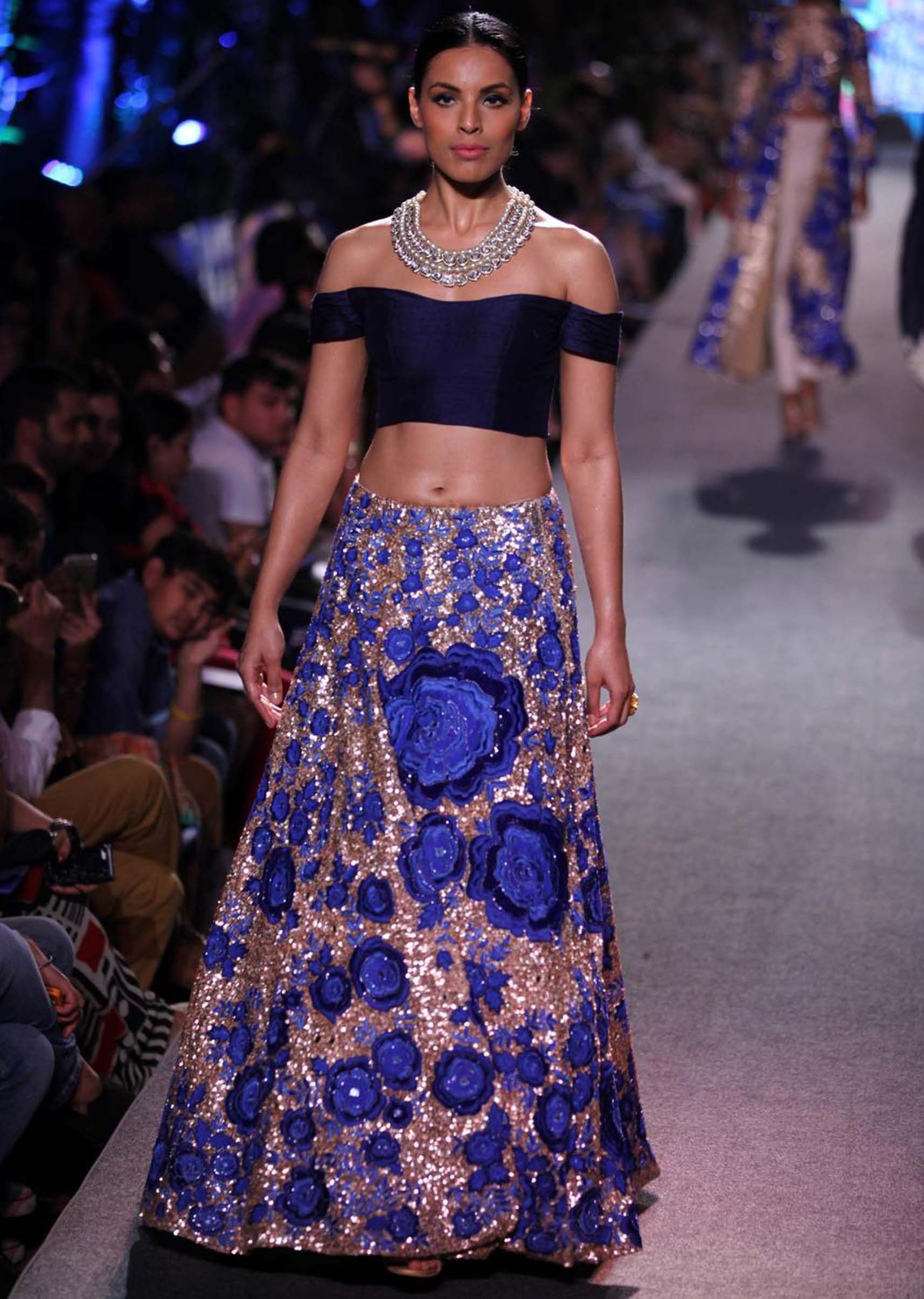 Off shoulder navy blue blouse by Manish Malhotra
