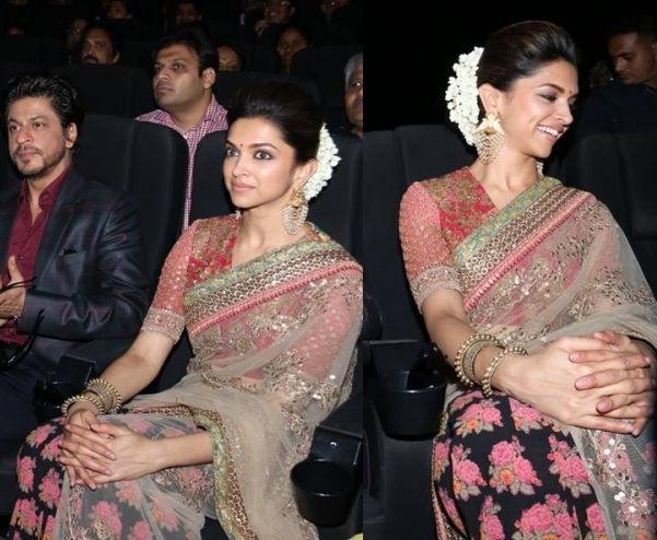 Deepika in ethnic wear with bun hairstye