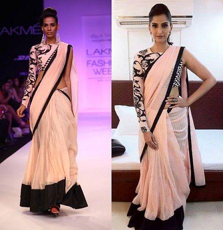 Sonam Kapoor in Monochrome print blouse