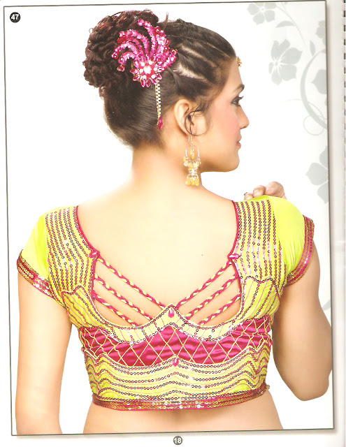 pointed back neck saree blouse
