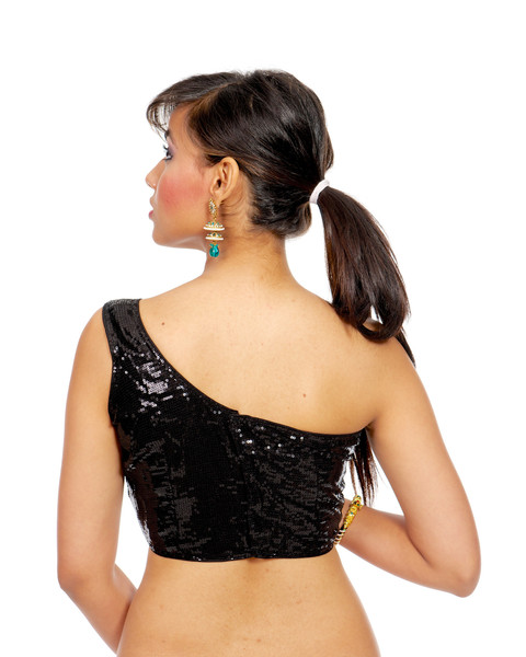 one shoulder back neck Saree Blouse