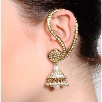Ear-cuff hanging jhumka