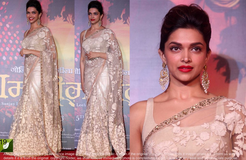 20b3dbe0662cc3 designer saree worn by Deepika to the movie Ramleela Trailer launched  ceremony.