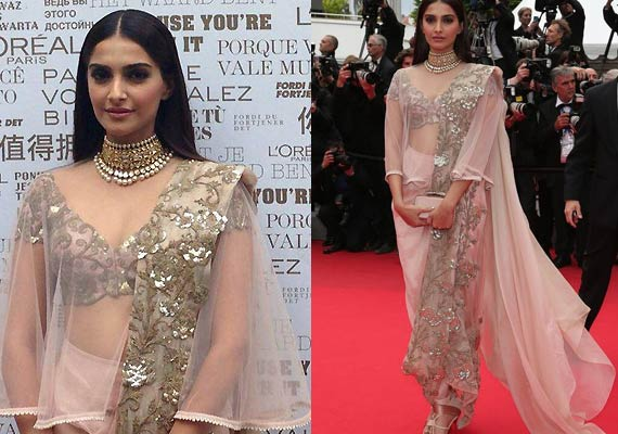 Sonam in pale pink Anamika Khanna Couture design