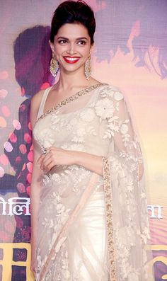 designer saree worn by Deepika to the movie Ramleela Trailer launched ceremony.