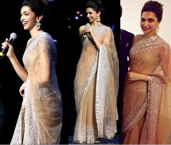 Deepika In Manish Malhotra's Designer Saree at IPL 7 Gala Dinner