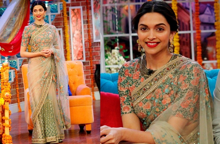 Intricate Floral Embroidered Blouse worn by Deepika
