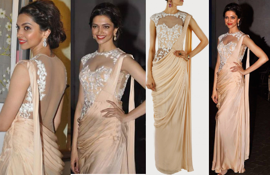 Deepika looking stunning in champagne sari with a white lace corset blouse