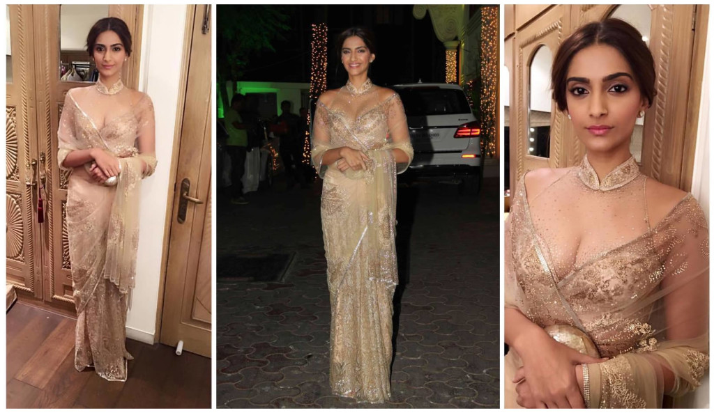 Sonam in gold shimmer Tarun Tahiliani saree
