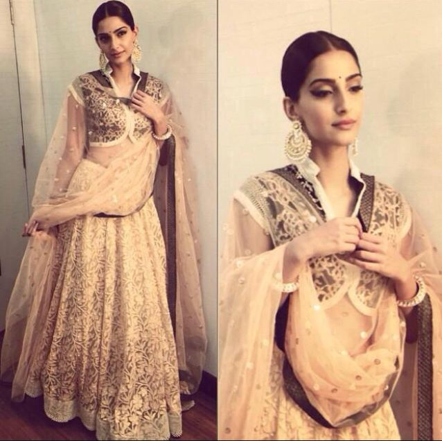 Sonam Kapoor in Kotwara Bridal Lehenga and collar blouse
