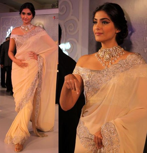 Sonam Kapoor in Suneet Verma saree wearing off shoulder blouse