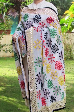 Intricately embroidered georgette dupatta.