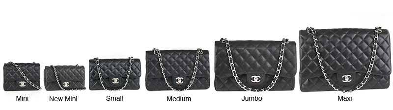 Different clutch sizes in classic black.