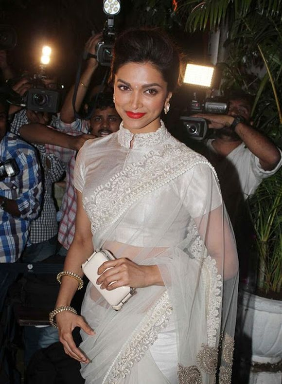 Deepika Padukone in Chinese Collar Blouse
