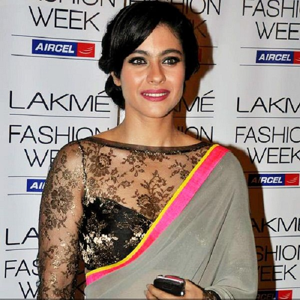 Kajol in Net Boat Neck Blouse