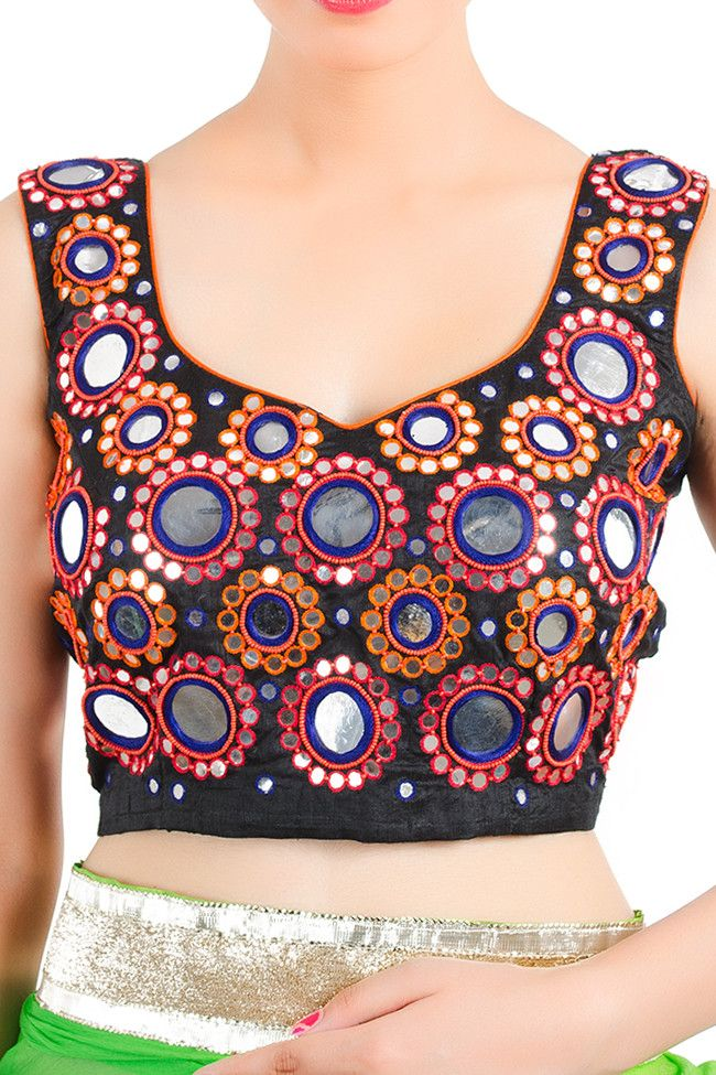 Kutch embroidery with mirror work on saree blouses