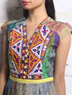 Kantha embroidery with mirror work on blouses