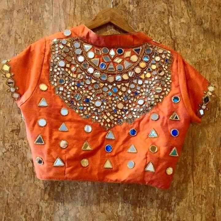 Mirror work embroidery on blouses