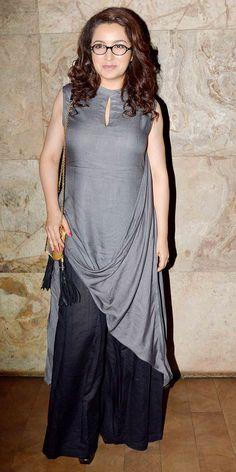 Tisca Chopra in black palazzo pants