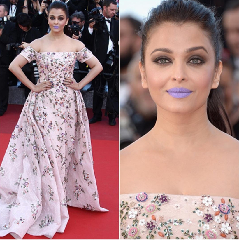 Purple Lips and Sheer Gown
