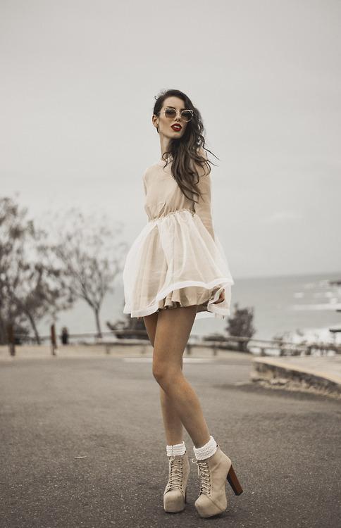 Sheer Crepe Dress