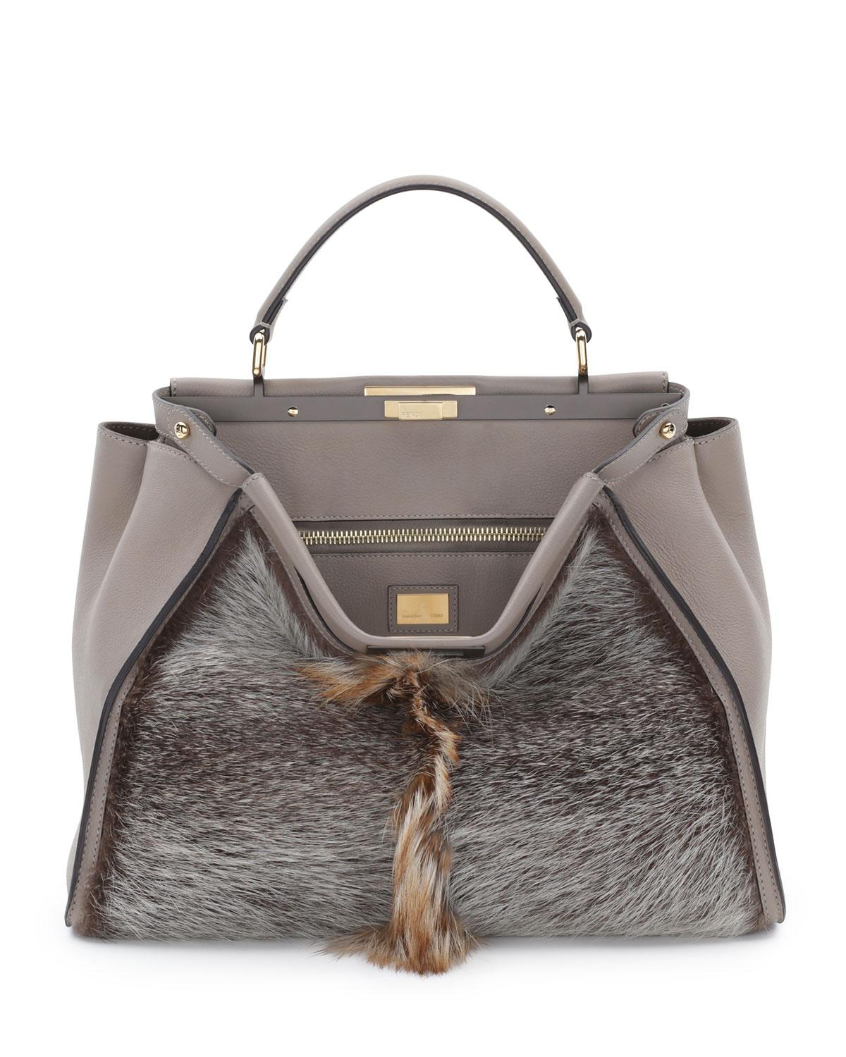 Fendi-Brown-FurLeather-Peekaboo-Large-Bag