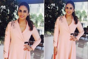 HUma Qureshi in a peach dress