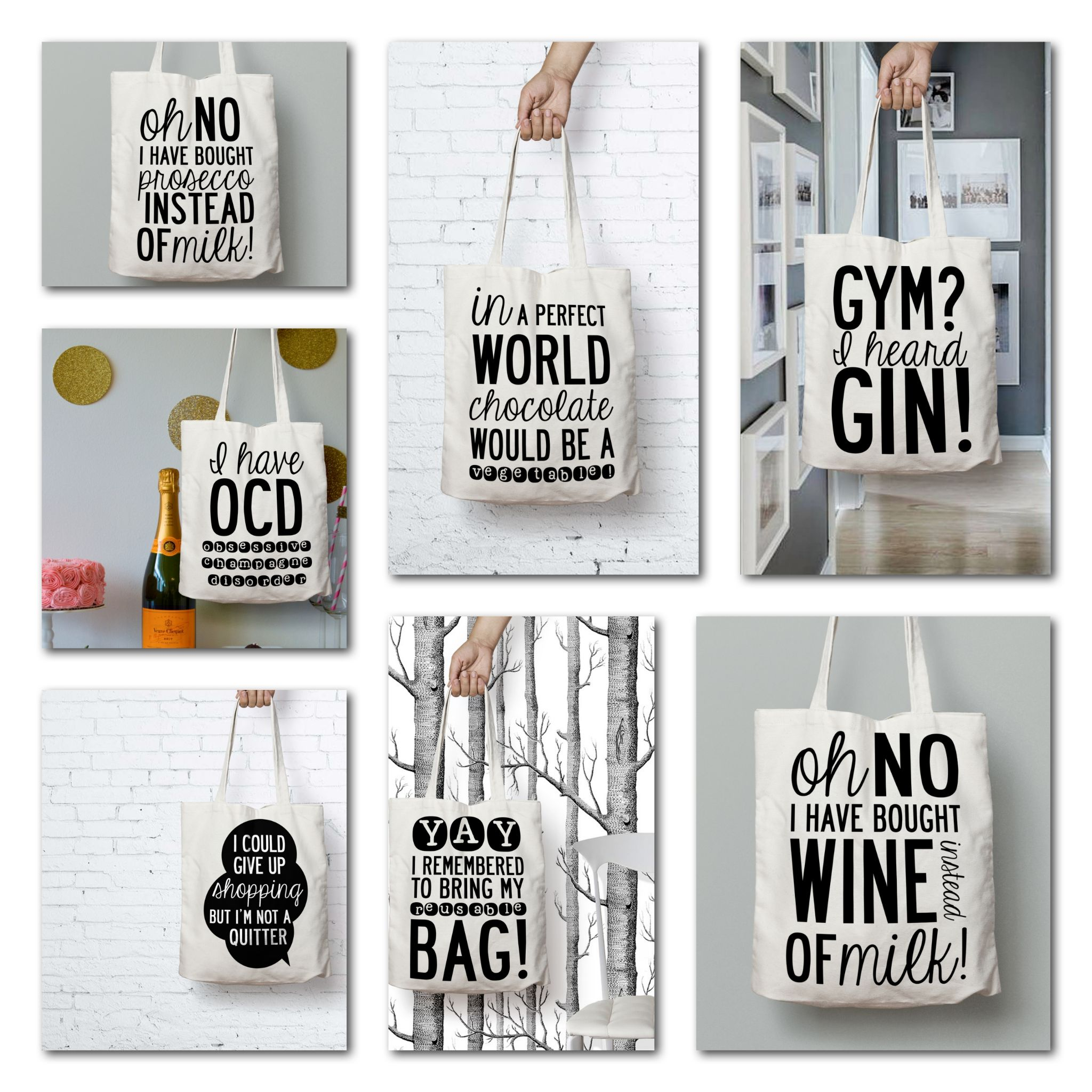 Tote with quotes