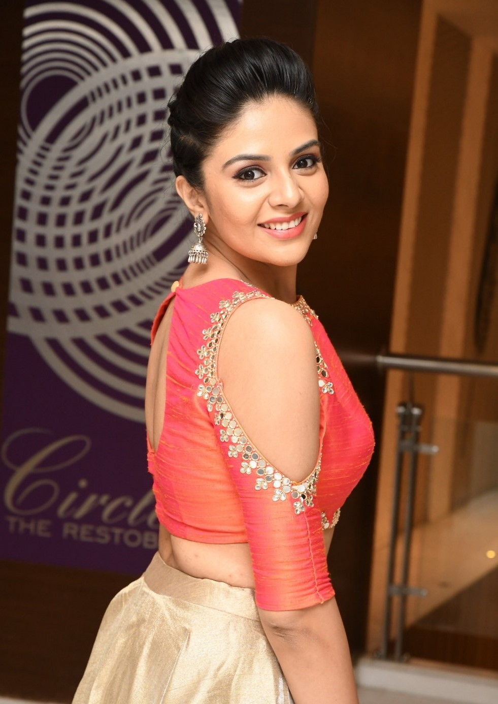 60c122922 Stunning Sreemukhi in a Peach and Golden Outfit - FashionPro