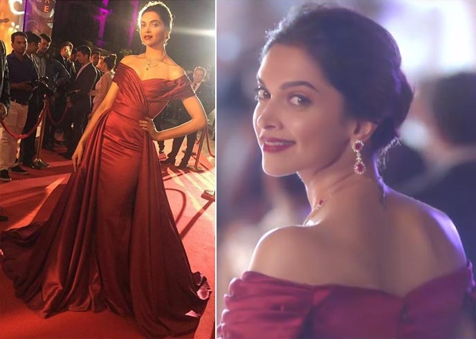 Deepika in a red gown