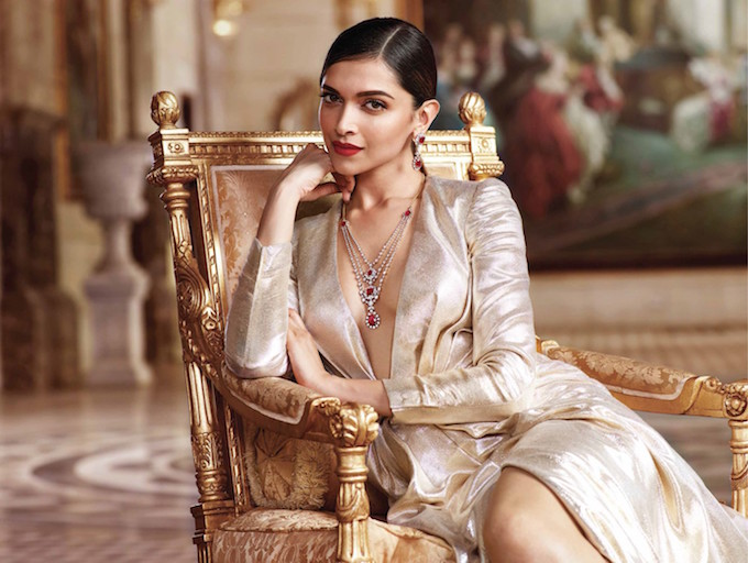 Deepika wearing a Tanishq ruby and diamond set