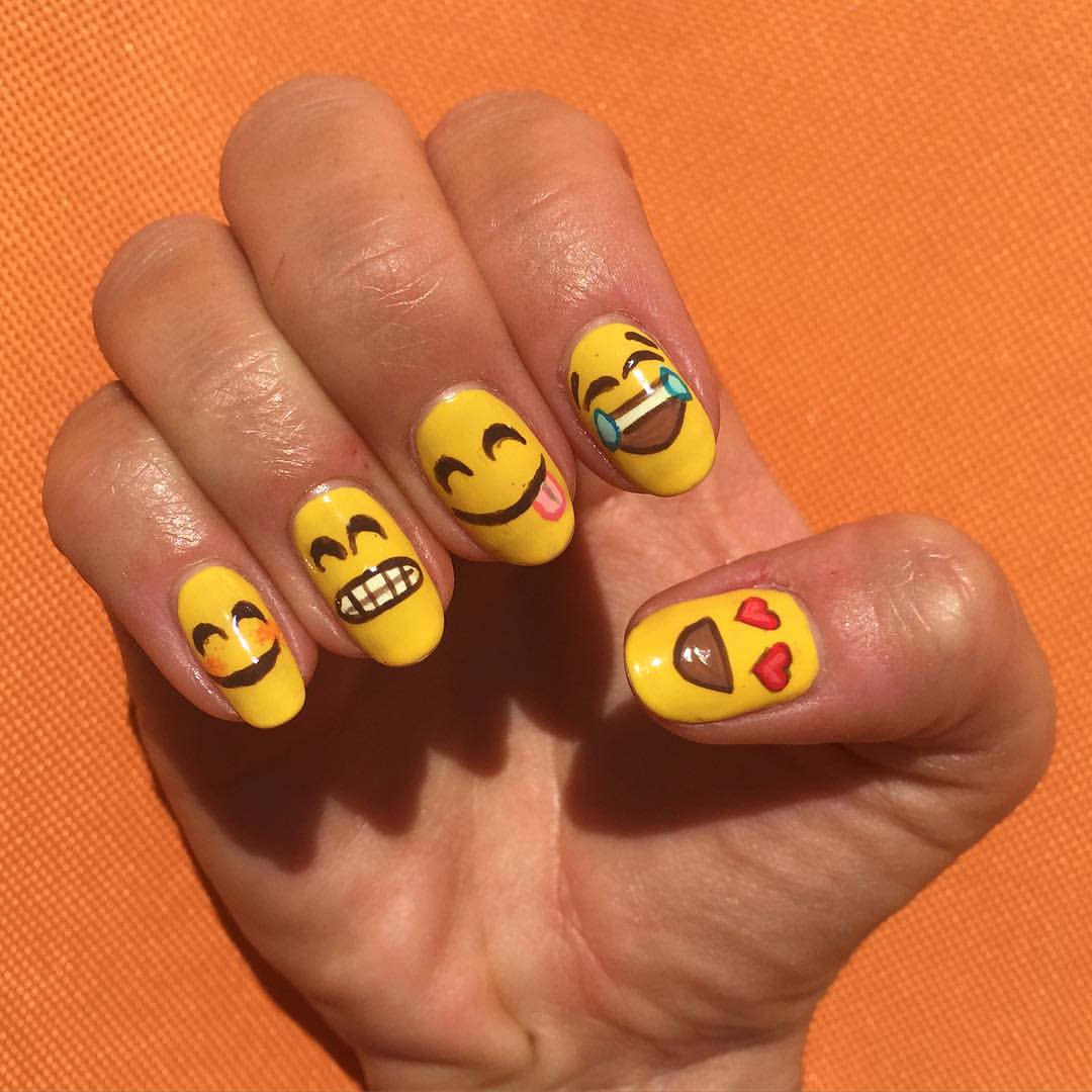 Emoticon nail art designs