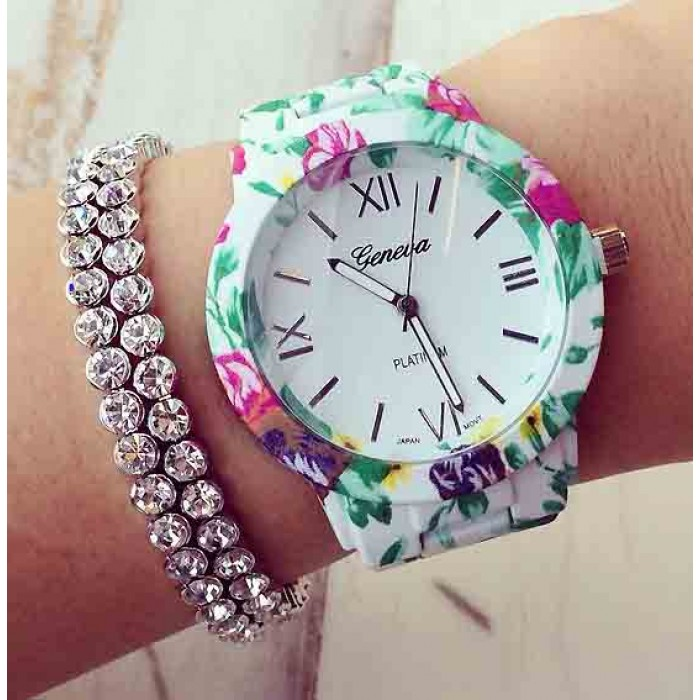 A watch with a floral print