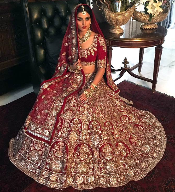Golden and maroon lehenga