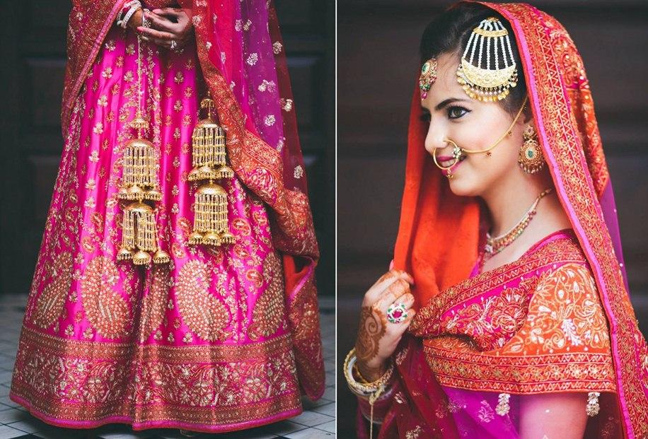 Pink and orange bridal lehenga