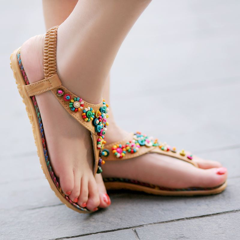 Sandals with bead work