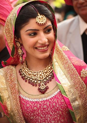 Zari work matching the bridal earrings