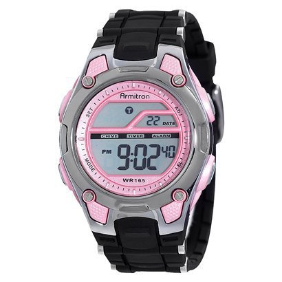 Pink display digital watch