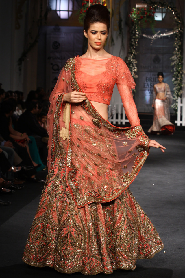 Orange and golden lehenga