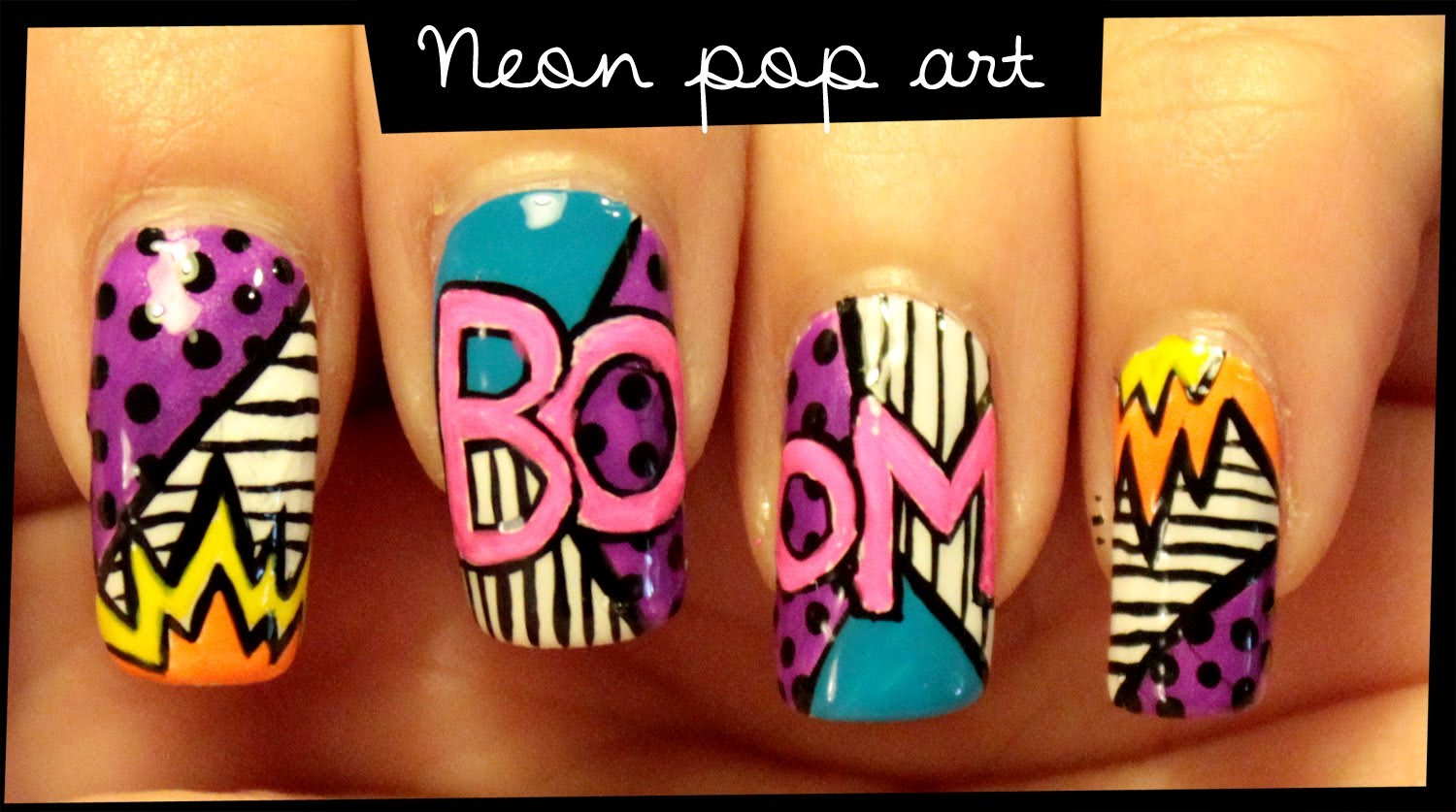Cool neon pop nail art designs