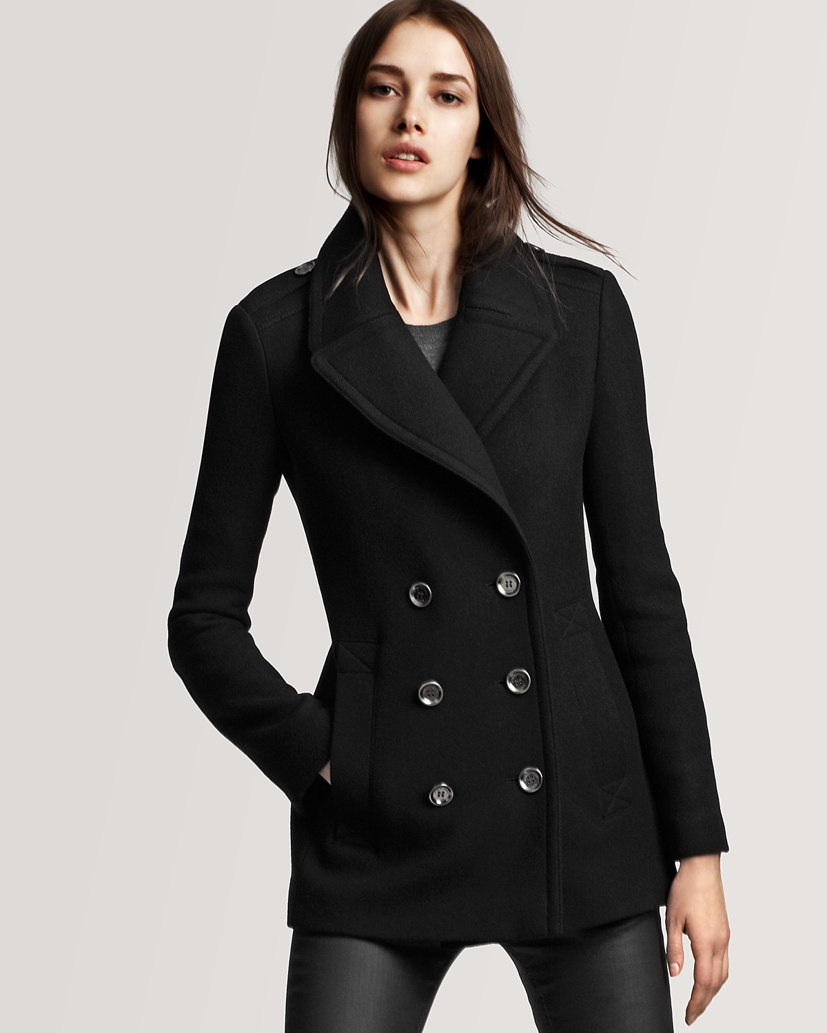 womens pea coat. WOMEN'S DESIGNER PEACOATS. Let street-smart women's peacoats see you through cooling temperatures with style and confidence. The classic double-breasted design is always in vogue, and Marc New York has traditional brushed twill pieces for both dress and casual wear.
