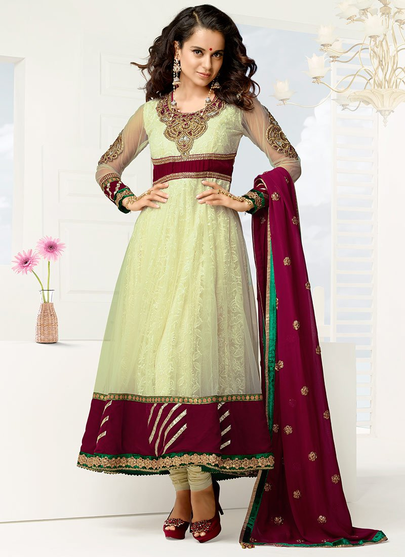 Kangana Ranaut in designer long length Anarkali Suit.