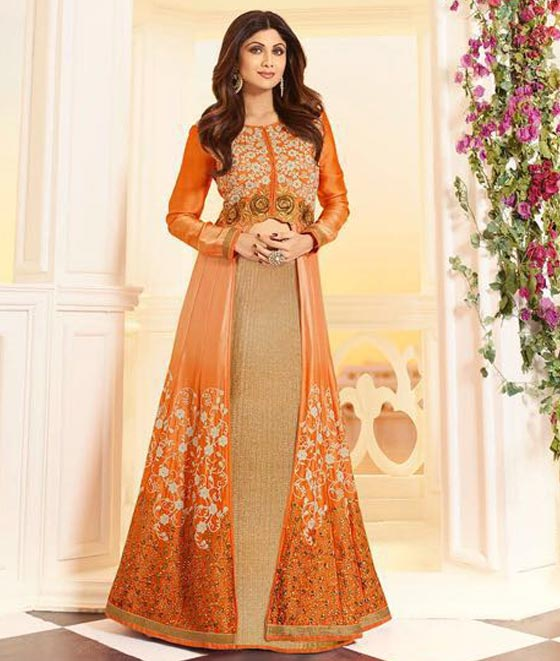 Shilpa Shetty in Orange Satin Anarkali Lehenga Suit.