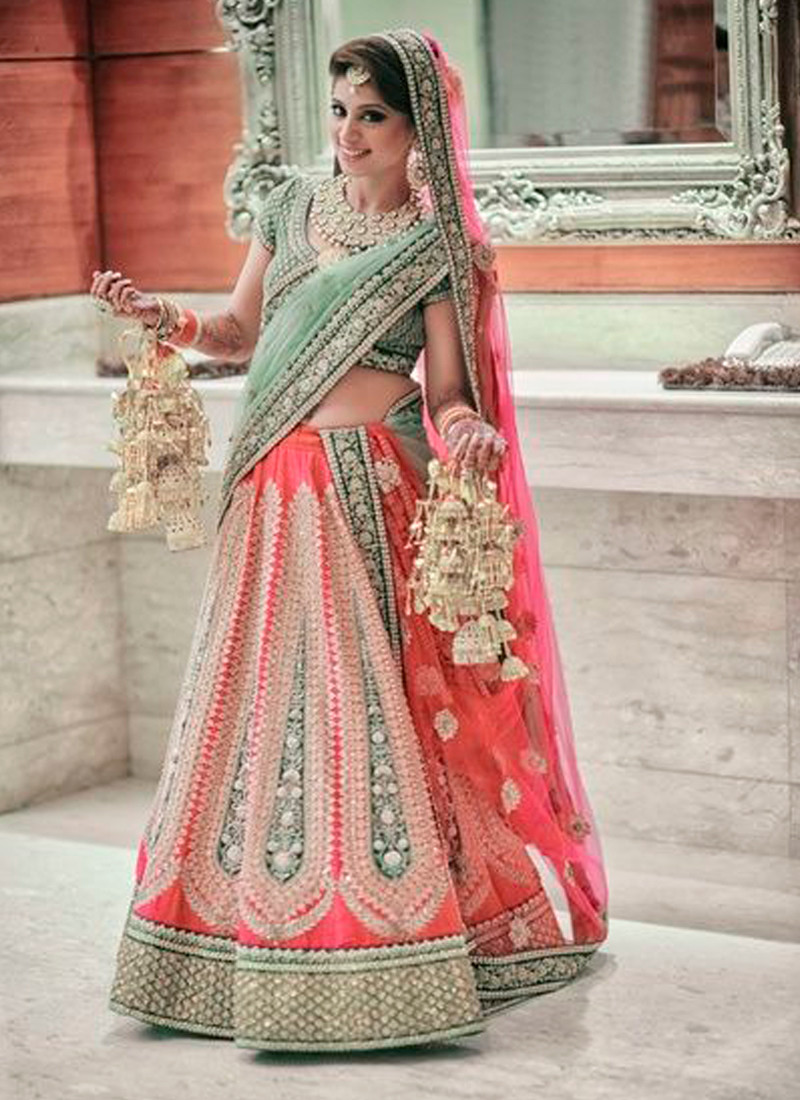 The Model in Gota Patti Border Bridal Lehenga Choli.