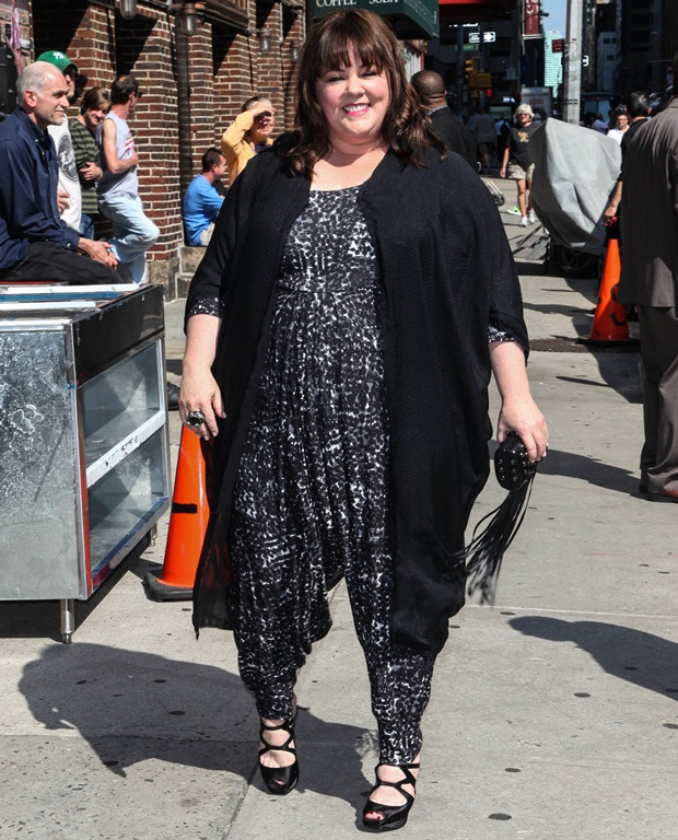 Melissa McCarthy wearing jumpsuit in NYC.