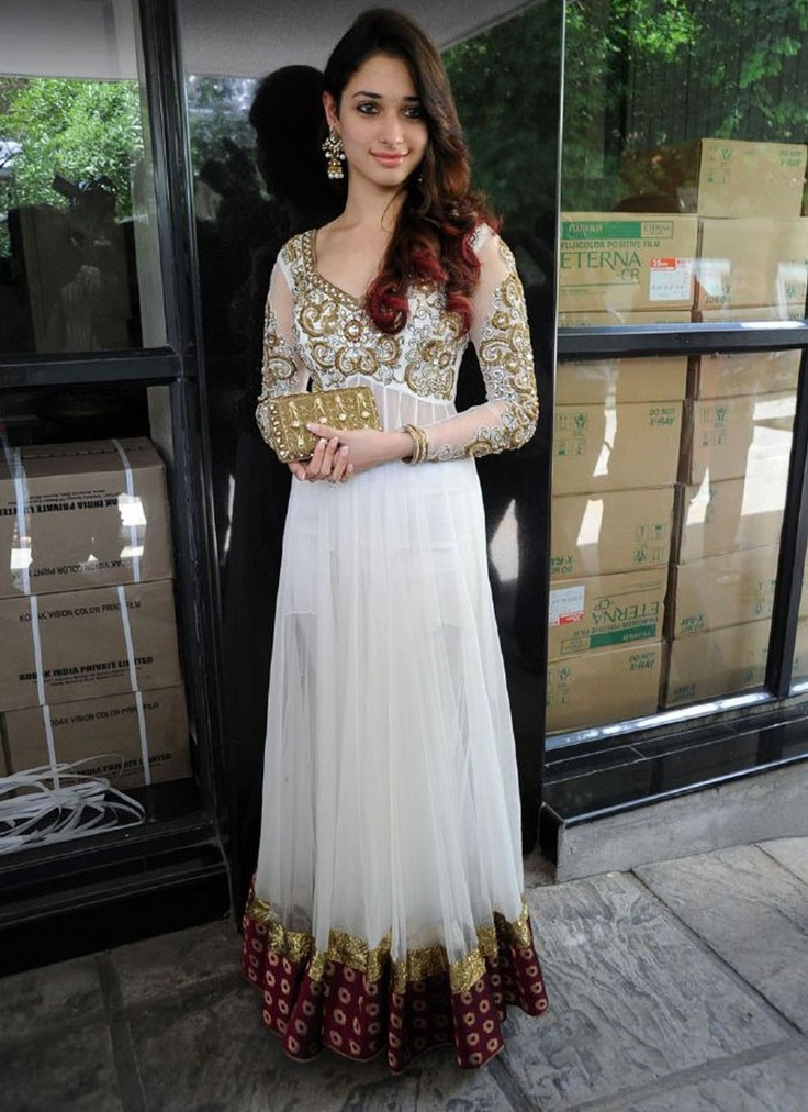 Tamannaah Bhatia in Chic Burgundy and Off white Salwar Kameez.