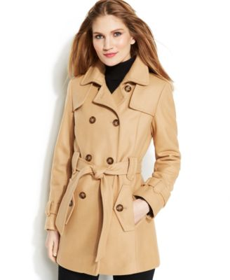 The model in peacoat.