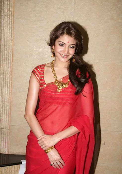 Anushka Sharma in Red Saree.