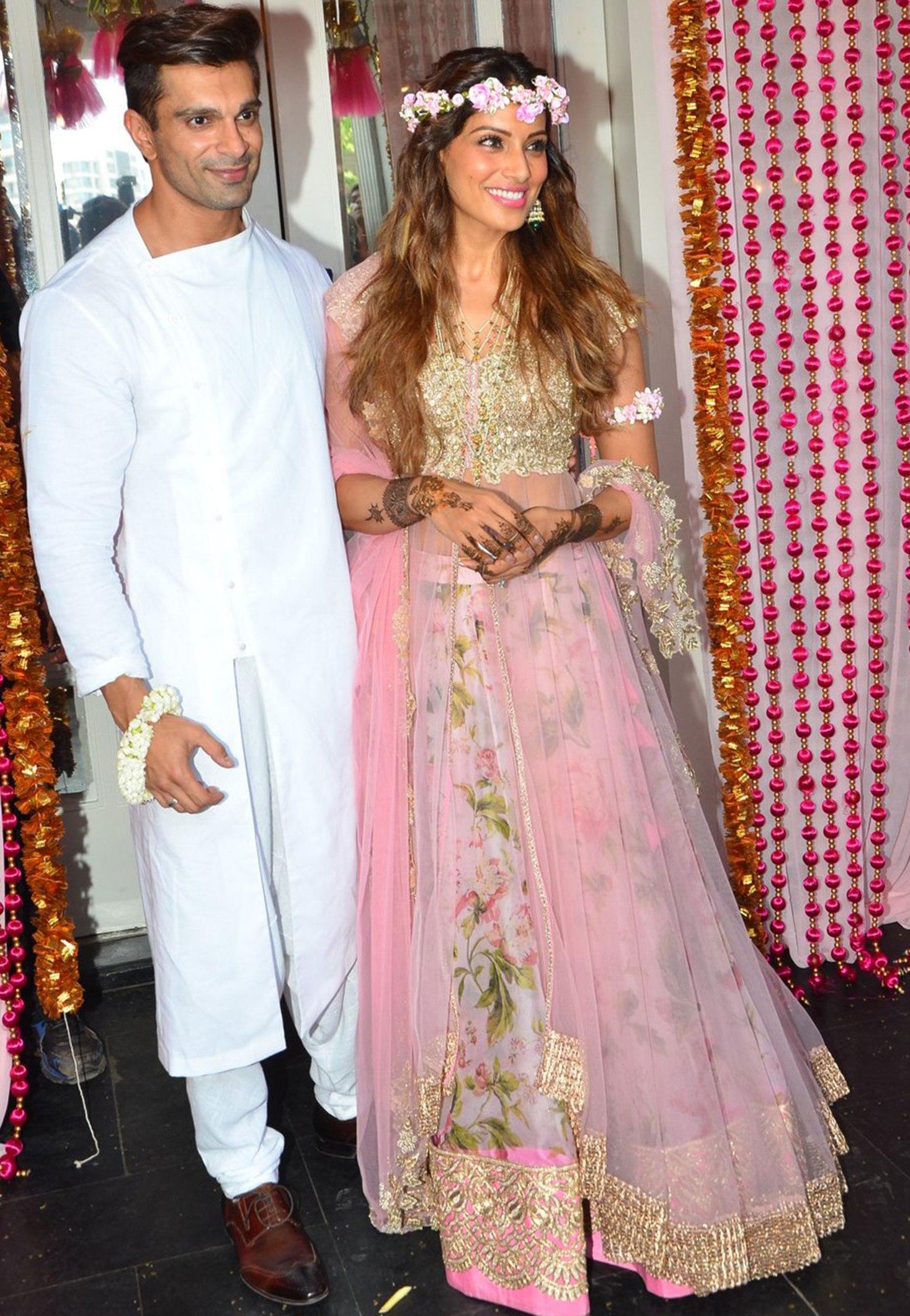 Bipasha Basu in Pink lehenga.