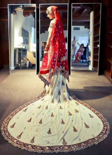 The Model in lehenga with trail.